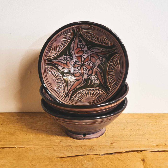 Moroccan Ceramic Bowls Colourful Small Purple CrafterElena