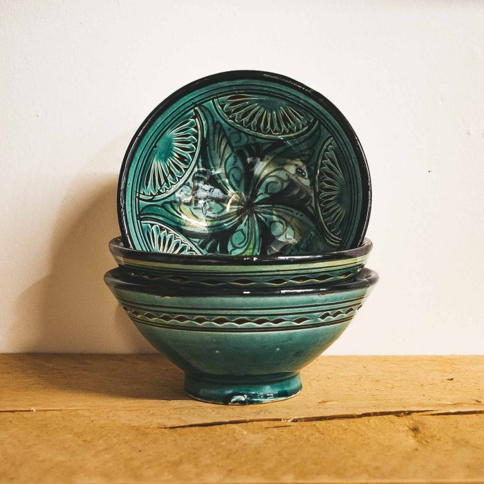 Moroccan Ceramic Bowls Colourful Small Green CrafterElena