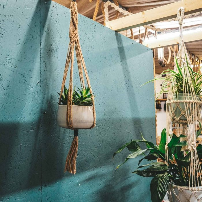 macrame plant hanger coconut string brown