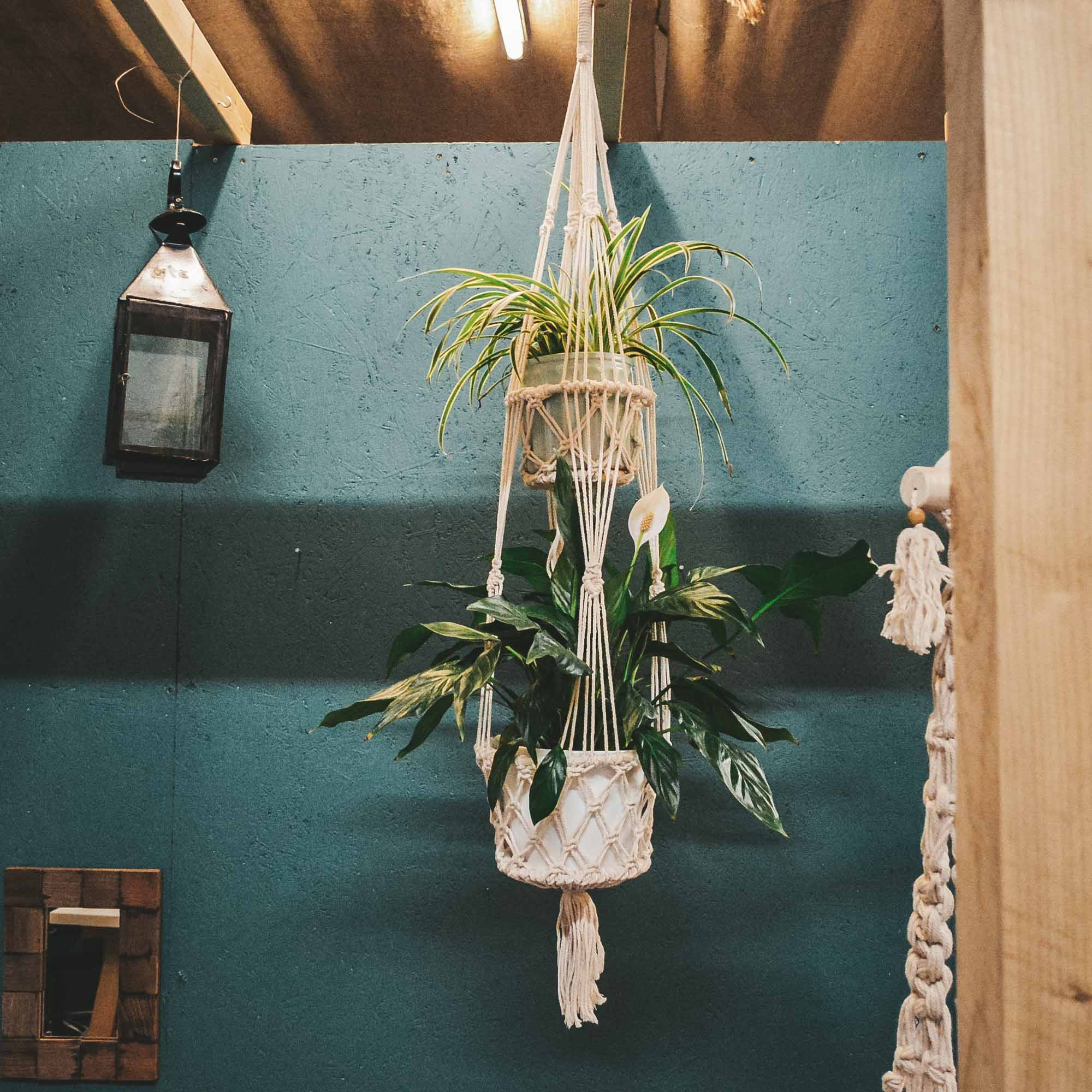 Macrame Plant Hanger White Single Or Double Tier Eco Organic Boho Crafterelena