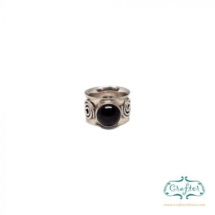 Black Onyx Gemstone Silver Statement Ring