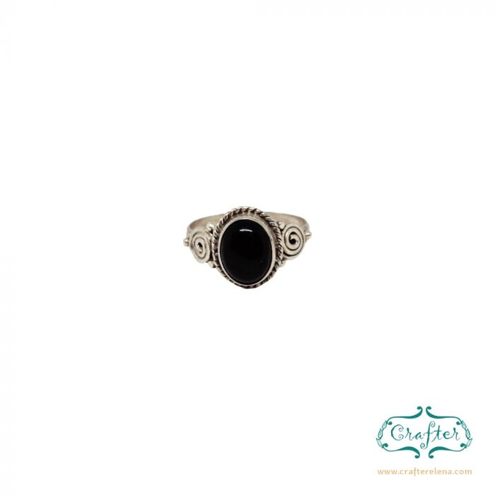 Silver Boho Gemstone Rings Black Onyx
