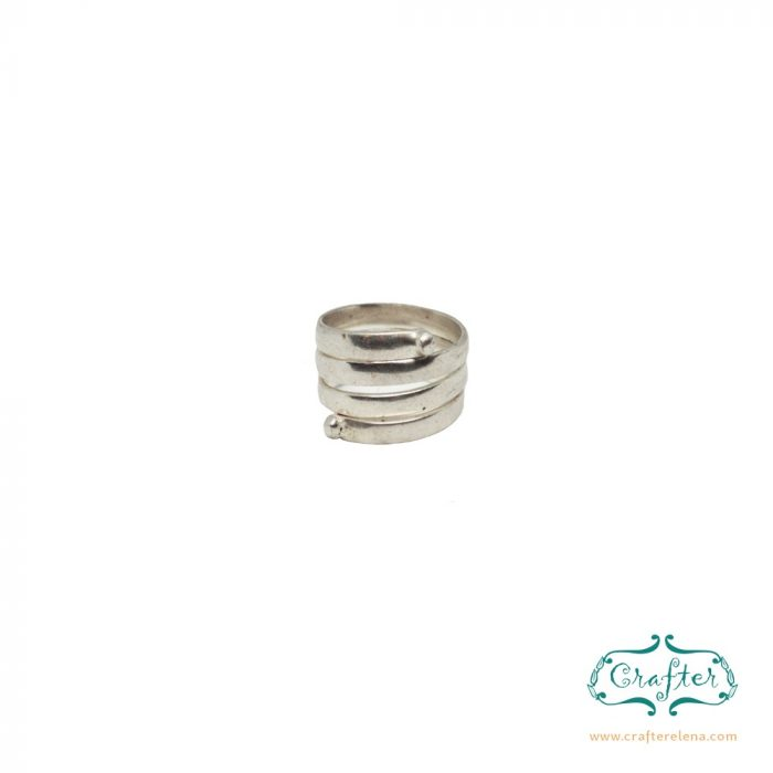Silver Plated Adustable Unisex Spiral Ring