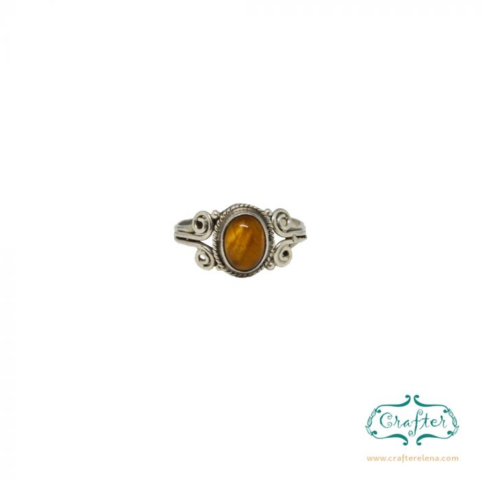 Silver Boho Gemstone Rings Tigers Eye