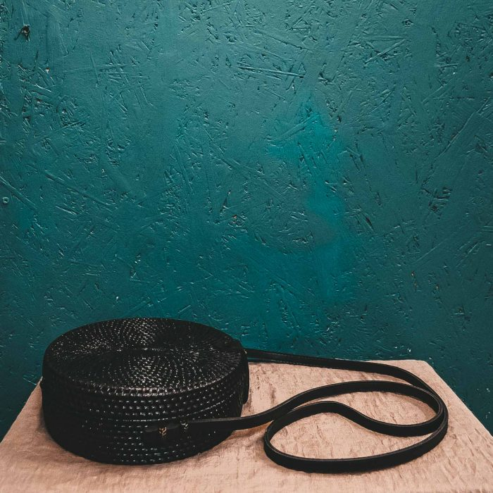 Round Rattan Bali Bag black on table