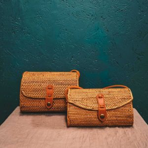 Oval Rattan Bali Bag Brown medium large