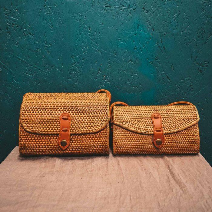Oval Rattan Bali Bag Brown medium large