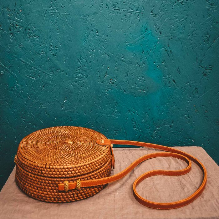 Round Rattan Bali Bag brown on table