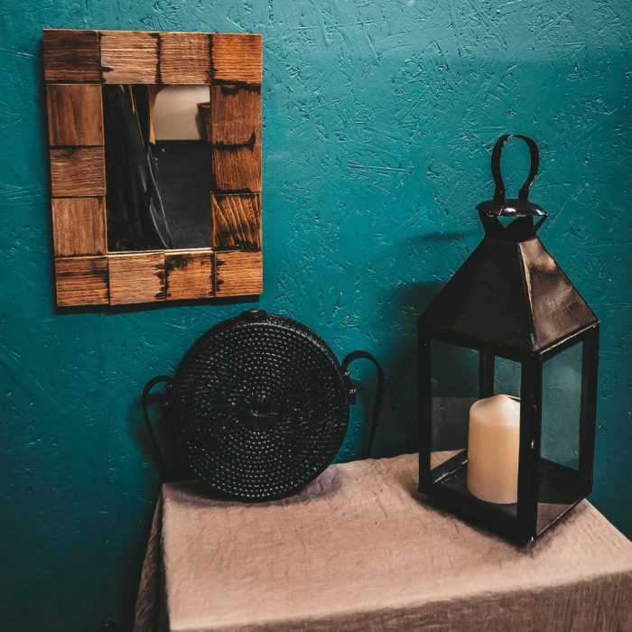 Round Rattan Bali Bag Black candle holder wooden mirror lifestyle