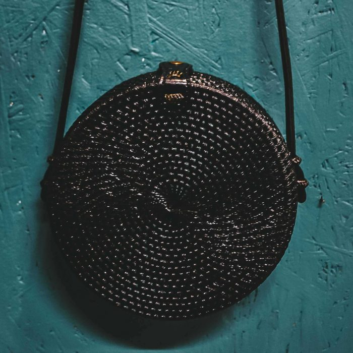 Round Rattan Bali Bagblack hanging front face on wall