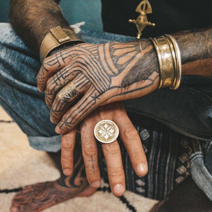 Tuareg Brass Engraved Tribal Bracelet