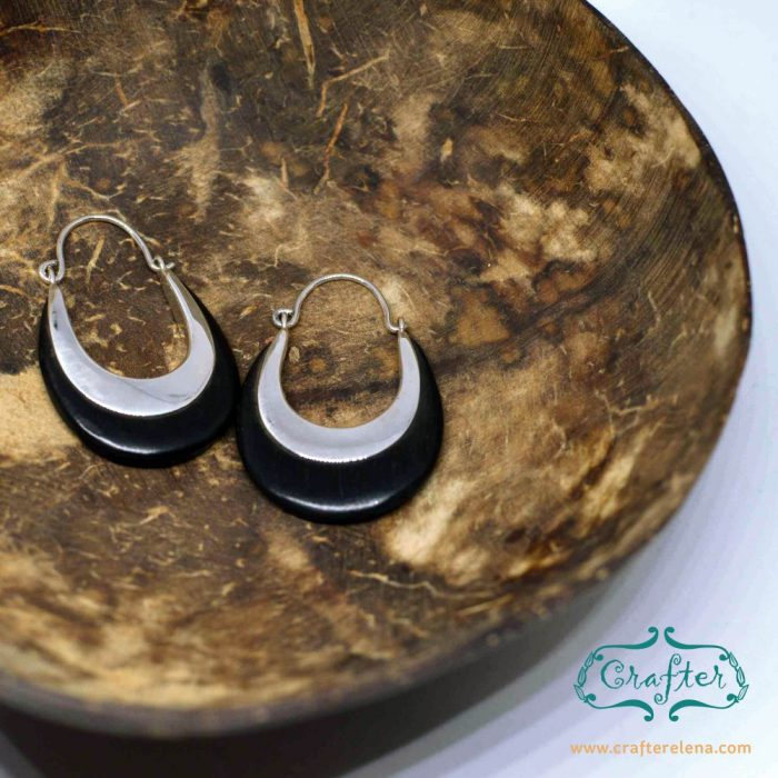 Oval Wood and Silver Clasp Earrings