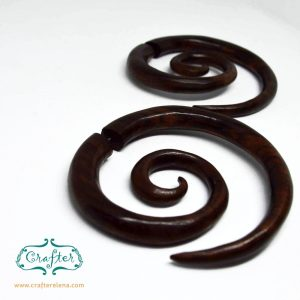 Wooden Tribal Spiral Fake Gauge Earrings Eco-Friendly