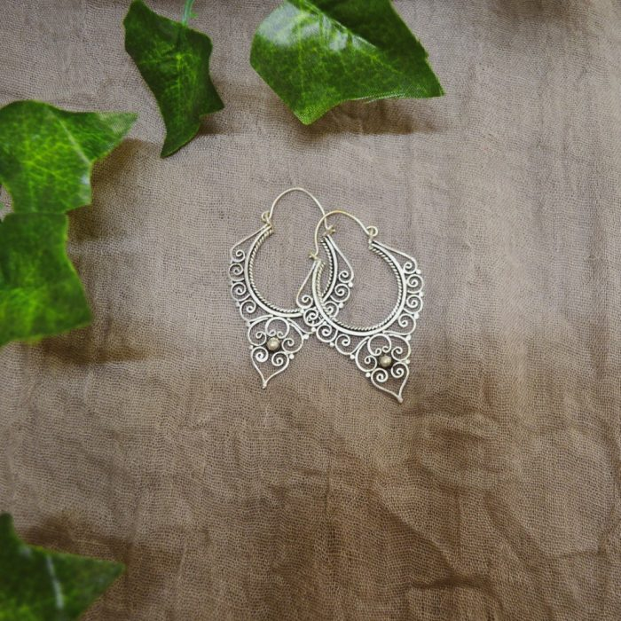 Silver Plated Bali Hoop Detailed Earrings Boho Detailed Gypsy