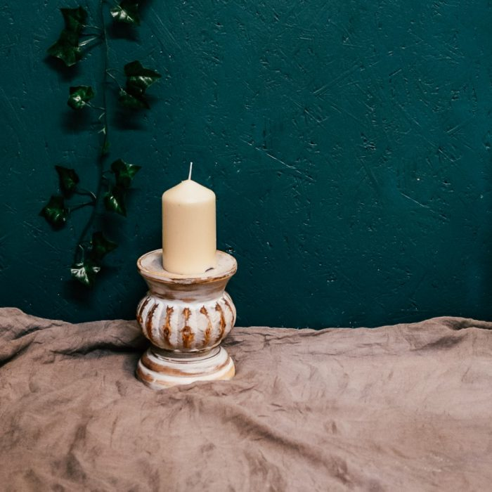 White Distressed Teakwood Candle Holders