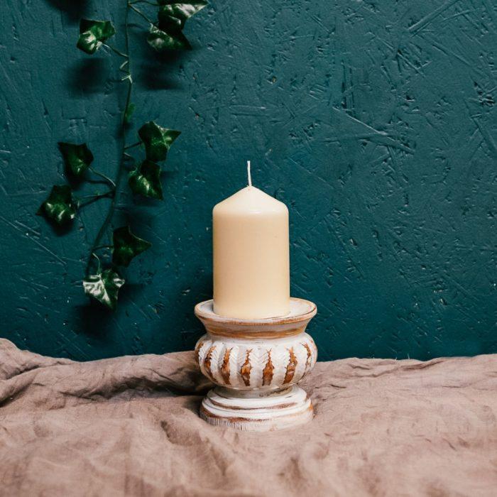 White Distressed Teakwood Candle Holders