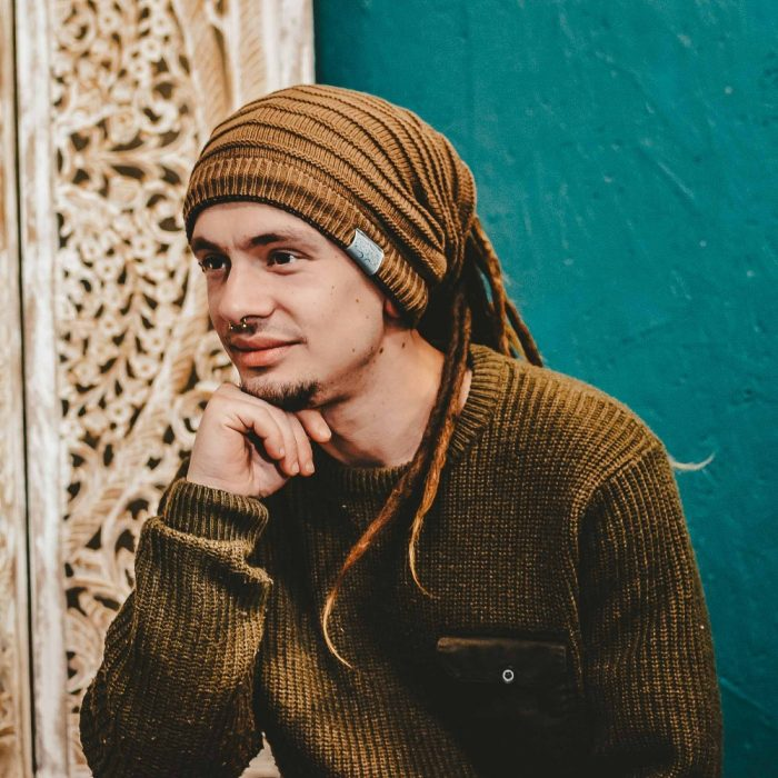 Dread Bandana Beanie Simple Stripe-3 Light Brown