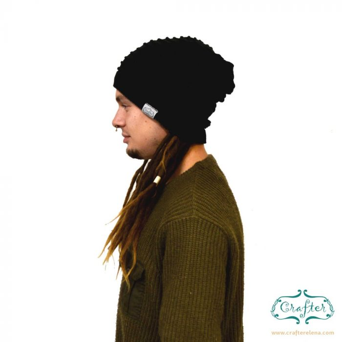 Dread Bandana beanie simple stripe 3 Black