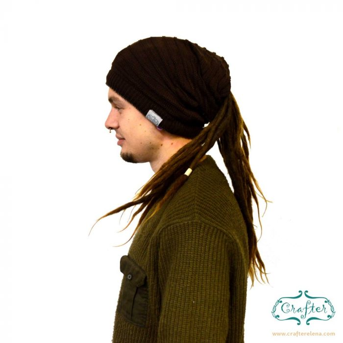 Dread Bandana beanie simple stripe 4 Black