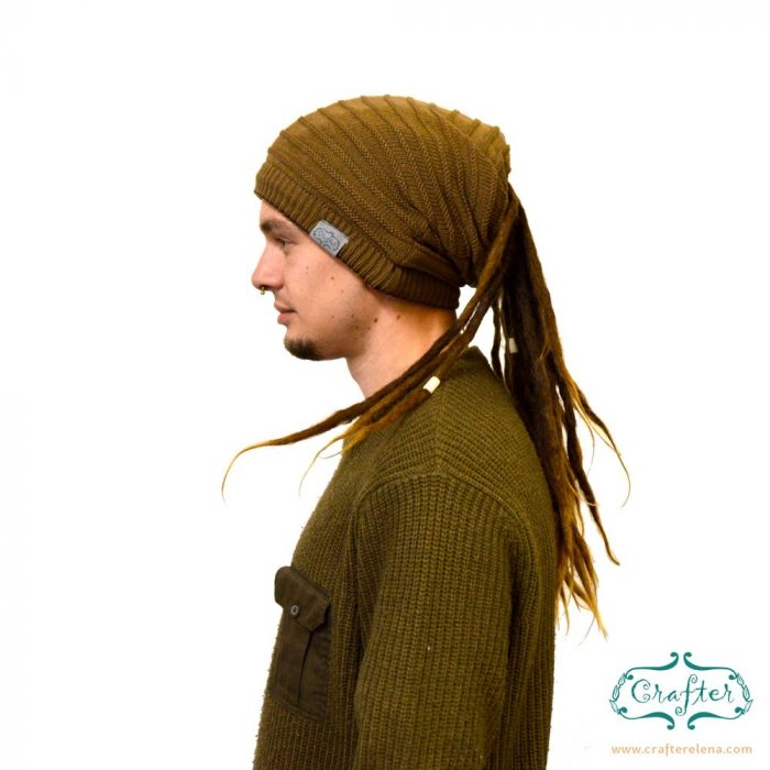 Dread Bandana beanie simple stripe 6 Light Brown