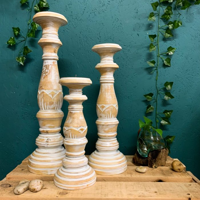 White Distressed Pillar Candle Holders