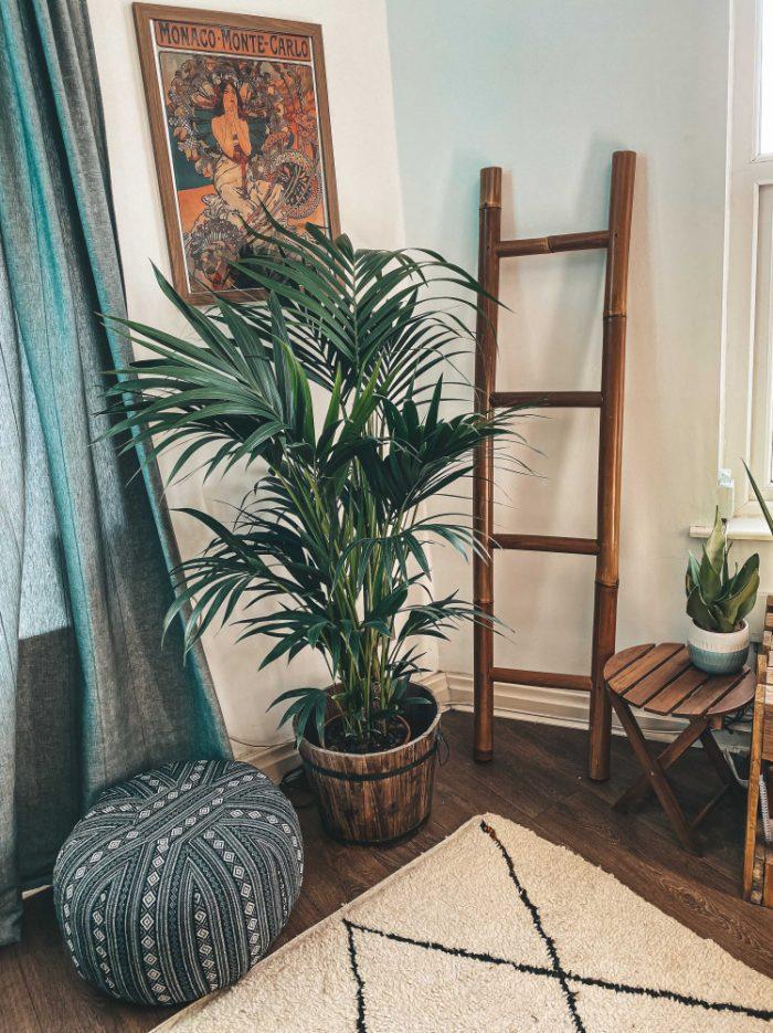 bamboo ladder boho living room pouf plants