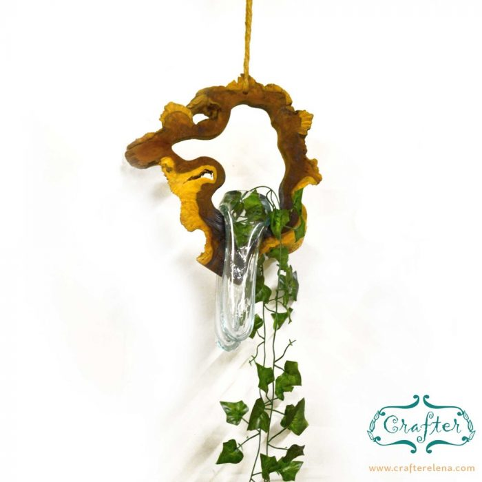 Melted Glass on Drift Wood Plant Hanger-1 terrarium