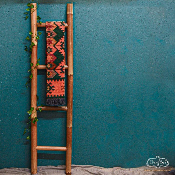 Bamboo Ladder Natural Storage Ladder
