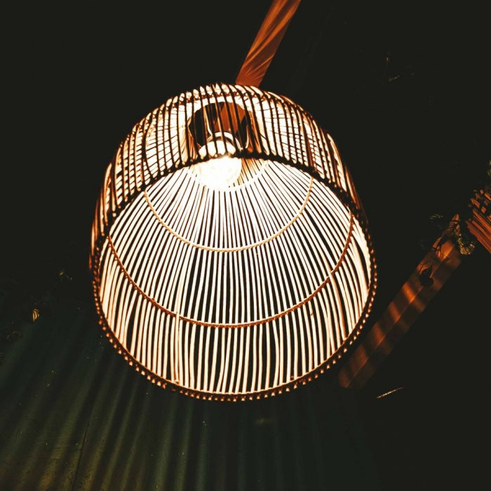 Rattan Lampshade Lantern with light in dark inside view