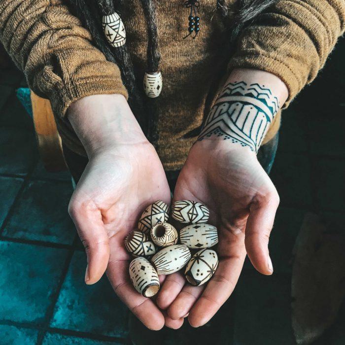 wooden Pyrography Tribal Dreadlock Beads