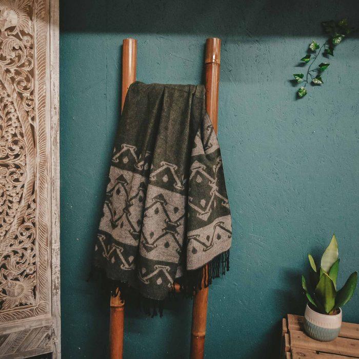 tribal pattern winter scarf green & beige