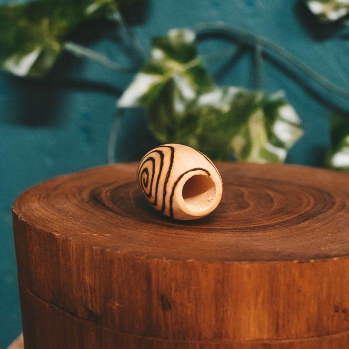 Spiral Mood Pyrography Wooden Dread Bead big hole