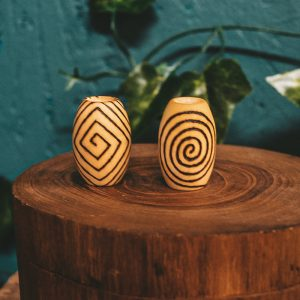 Spiral Mood Pyrography Wooden Dread Beads