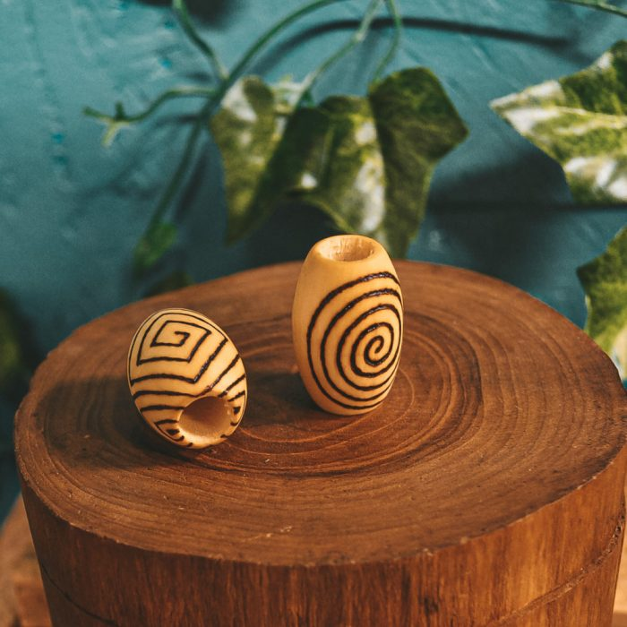 Spiral Mood Pyrography Wooden Dread Beads9