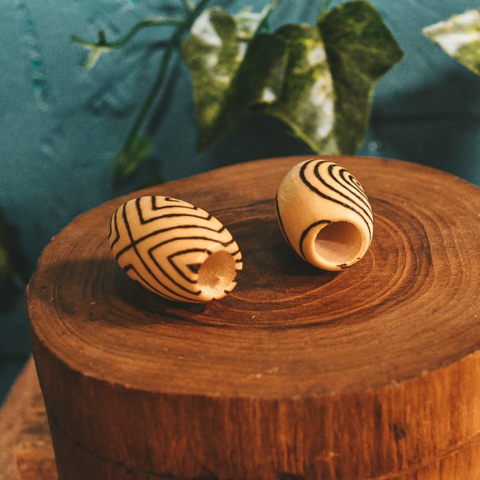 Spiral Mood Pyrography Wooden Dread Beads9 hole