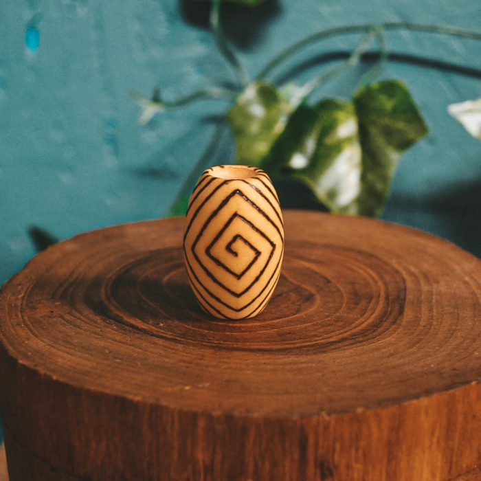Spiral Mood Pyrography Wooden Dread Beads9 square spiral