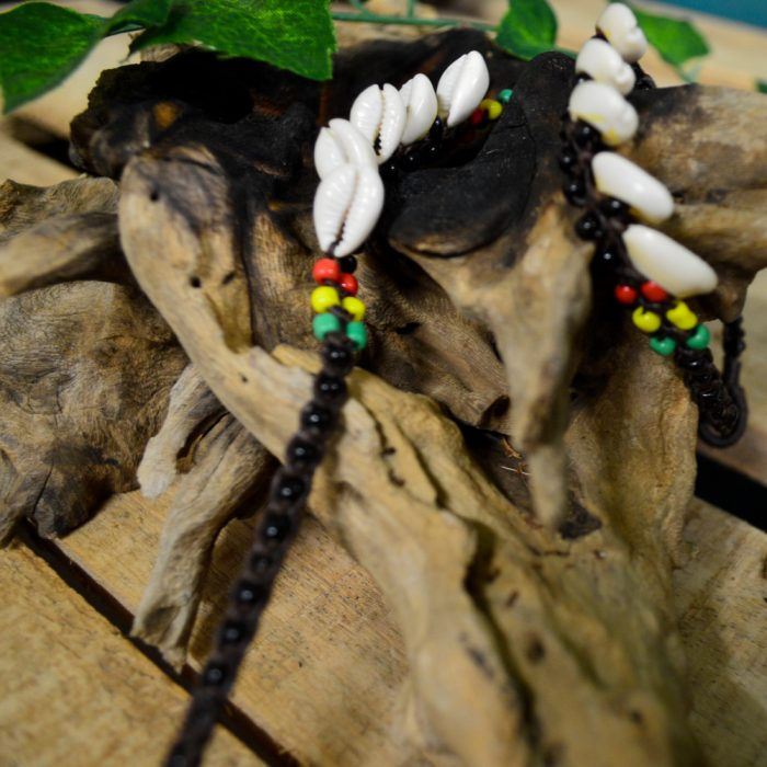 Macrame Brown Shell Ankle Bracelet with Rasta Beading