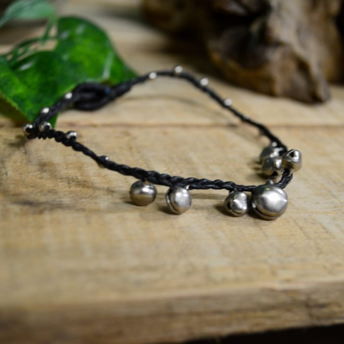 Macrame Brown Double Silver Bead Bell Ankle Bracelet