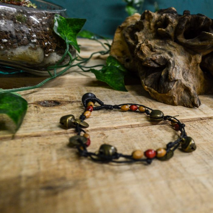 Macrame Brown Boho Thai Ankle Bracelet with Coin Charms