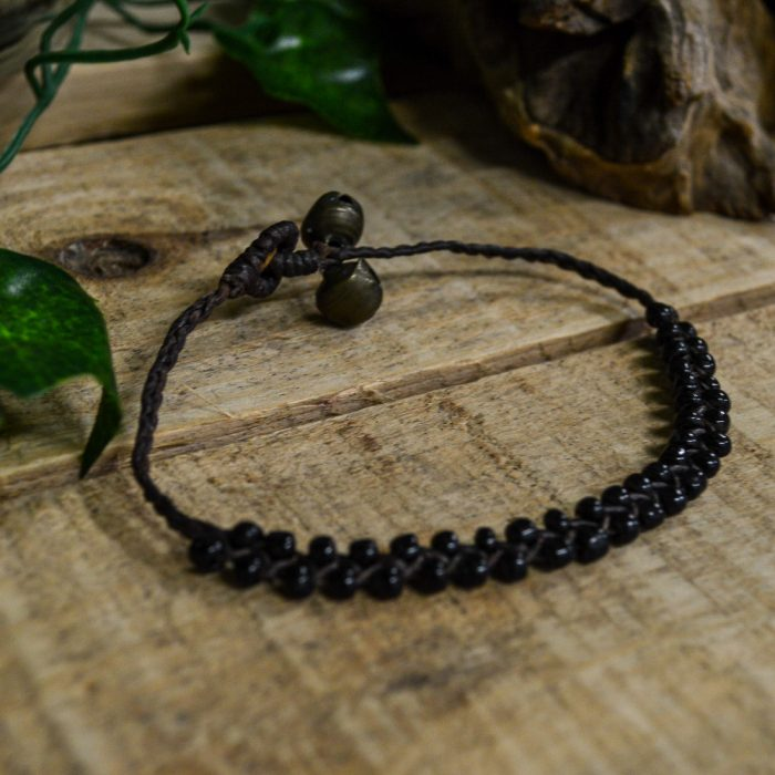 Macrame Ankle Bracelet Copper or Black with Beads & Bells