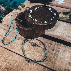 Macrame Brown Boho Ankle Bracelet with Natural Gemstones