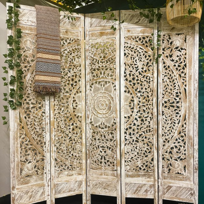 Hand Carved Moroccan Five Panel Wooden Room Divider