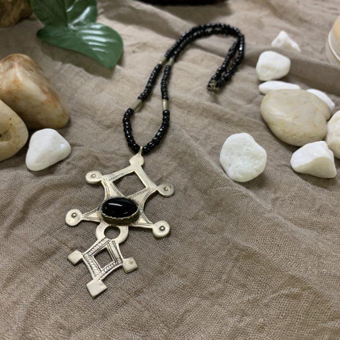 Tuareg Agadez Cross Gemstone Pendant Ornate Necklace