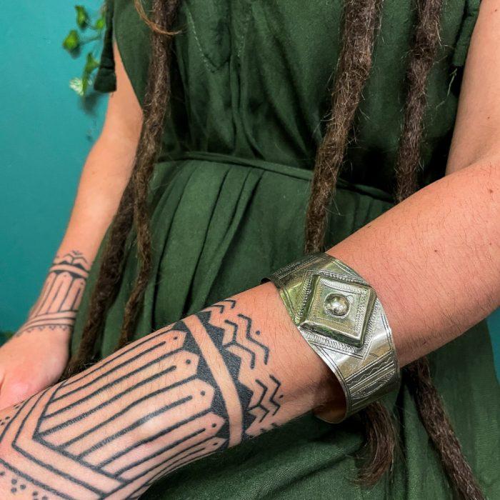 Tuareg Hand-Carved Metal Bracelet Cuff