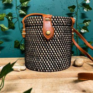 Rattan Straw Bucket Bag Black